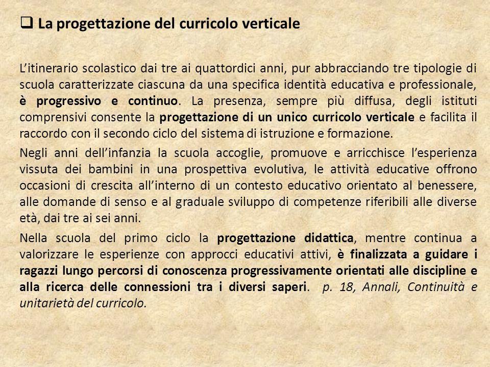 La continuità verticale Si realizza dalla scuola primaria alla scuola secondaria di primo grado attraverso la progressione degli obiettivi relativi alle diverse competenze, lo sviluppo delle strategie per imparare, la condivisione delle metodologie, la discussione comune delle scelte didattiche.