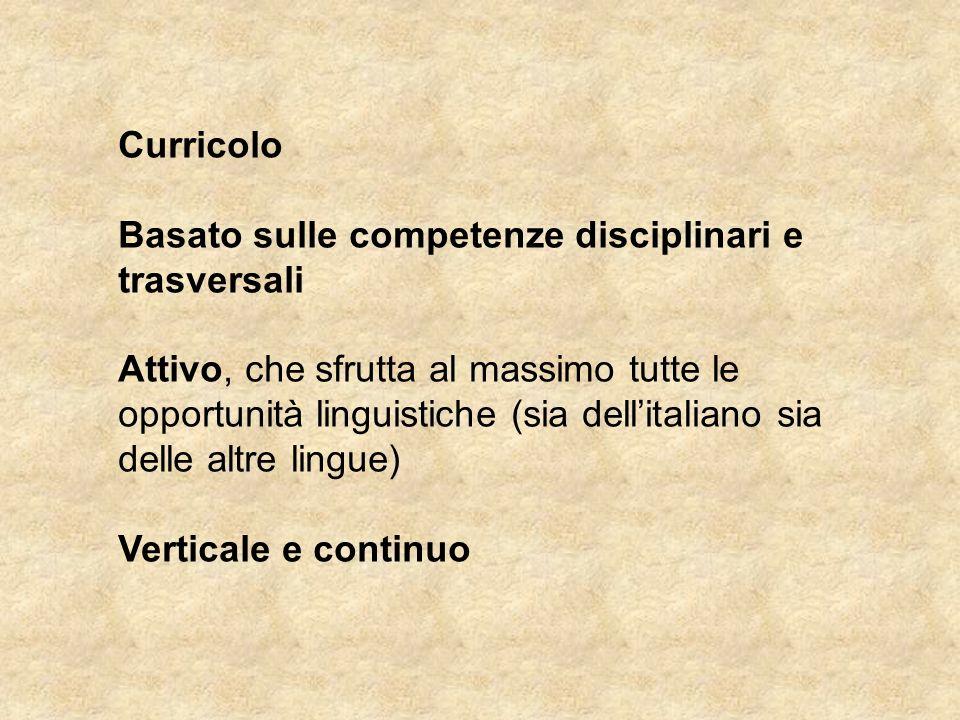 Curricolo Basato sulle competenze disciplinari e trasversali Attivo, che sfrutta al massimo tutte le opportunità linguistiche (sia dell'italiano sia d