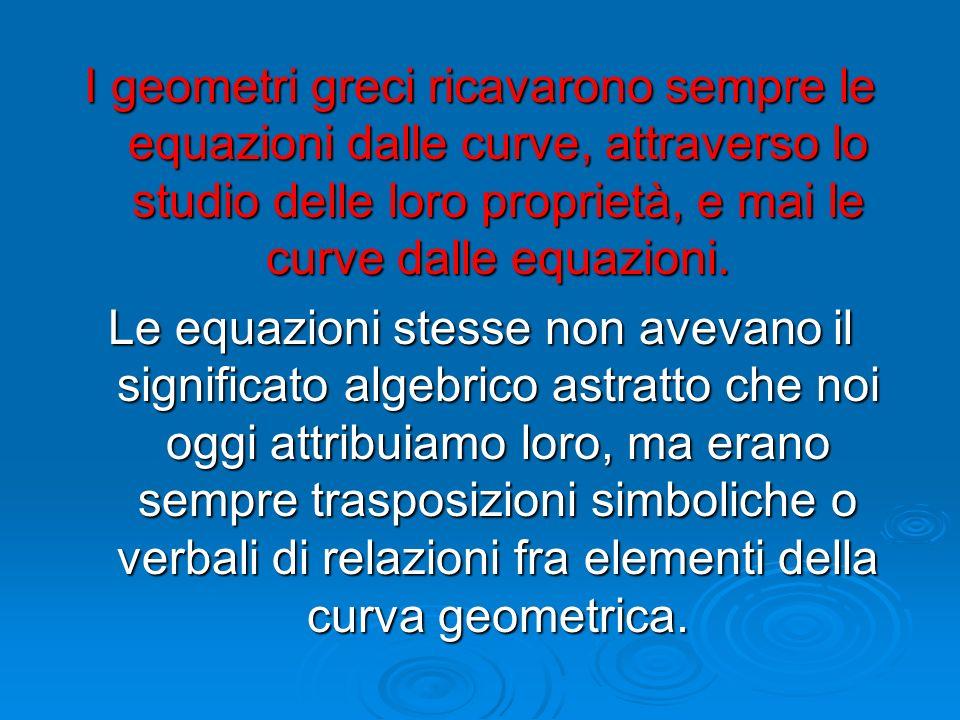 I geometri greci ricavarono sempre le equazioni dalle curve, attraverso lo studio delle loro proprietà, e mai le curve dalle equazioni. Le equazioni s