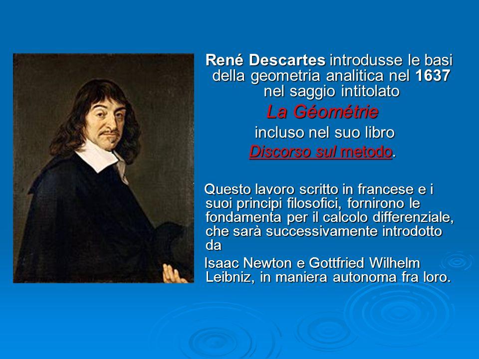 René Descartes introdusse le basi della geometria analitica nel 1637 nel saggio intitolato René Descartes introdusse le basi della geometria analitica