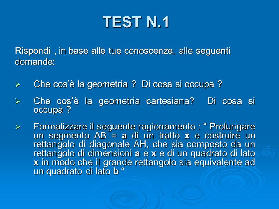 TEST N.1 Rispondi, in base alle tue conoscenze, alle seguenti domande:  Che cos'è la geometria ? Di cosa si occupa ?  Che cos'è la geometria cartesi