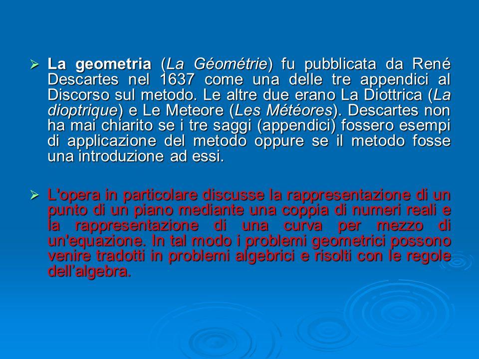  La geometria (La Géométrie) fu pubblicata da René Descartes nel 1637 come una delle tre appendici al Discorso sul metodo. Le altre due erano La Diot