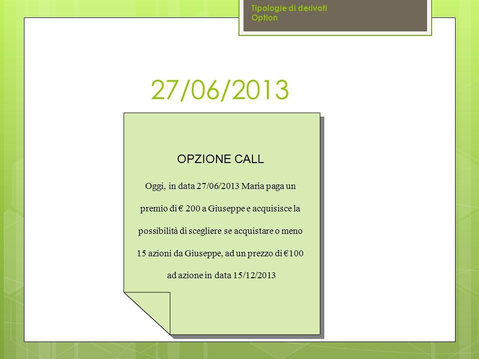 27/06/2013 OPZIONE CALL Oggi, in data 27/06/2013 Maria paga un premio di € 200 a Giuseppe e acquisisce la possibilità di scegliere se acquistare o men