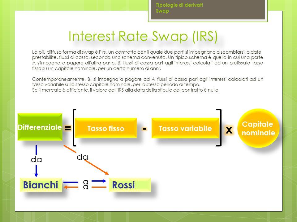 La più diffusa forma di swap è l'Irs, un contratto con il quale due parti si impegnano a scambiarsi, a date prestabilite, flussi di cassa, secondo uno