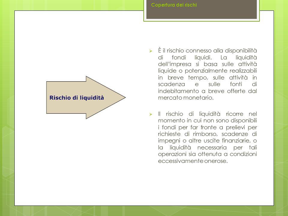  È il rischio connesso alla disponibilità di fondi liquidi. La liquidità dell'impresa si basa sulle attività liquide o potenzialmente realizzabili in