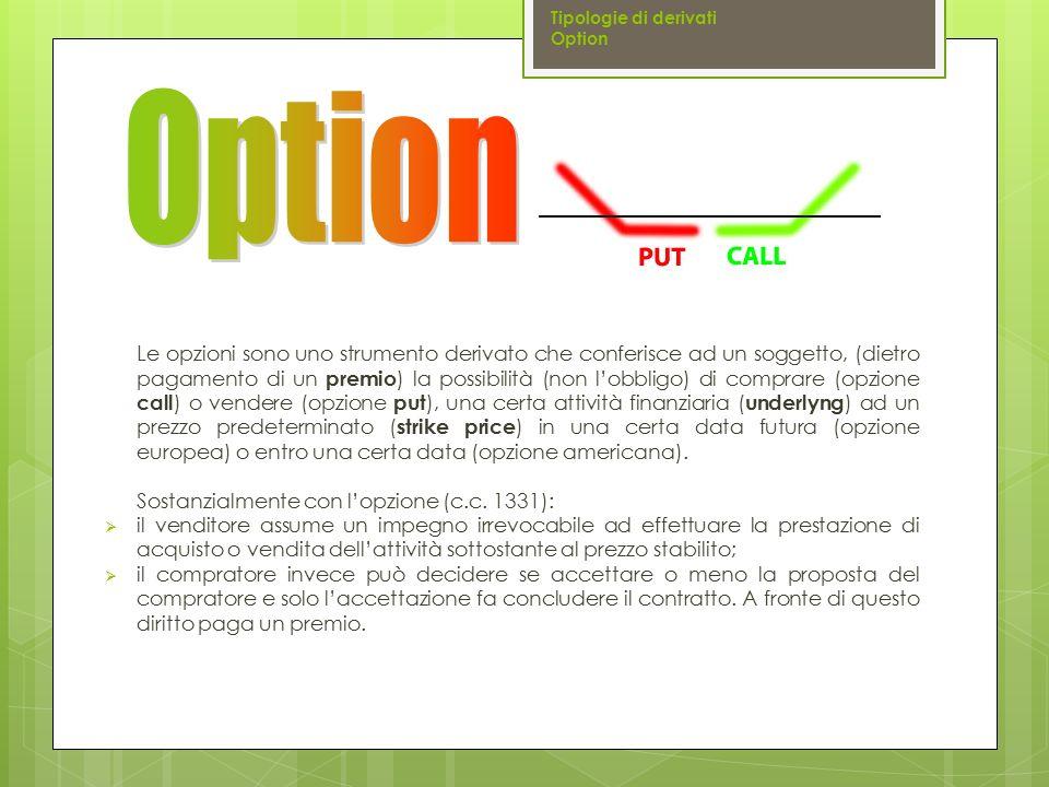  Strike price : prezzo di esercizio a cui può essere esercitata l'opzione  Underlying asset : la tipologia di attività sottostante  Opzioni su valute(currency option)  Opzioni su tassi (cap, floor, collar)  Opzioni su titoli (obbligazioni, bond option, azioni, equity option)  Opzioni su swap(swap option)  Opzioni su indici(stock index option)  Opzioni su merci (commodity option)  CALL: opzione che dà diritto di acquistare lo strumento sottostante al prezzo di esercizio dell'opzione (strike price)  PUT: opzione che dà diritto di vendere lo strumento sottostante al prezzo di esercizio dell'opzione (strike price)  Europee: sono esercitabili solo ad una data futura  Americane: sono esercitabili entro una data futura Tipologie di derivati Option