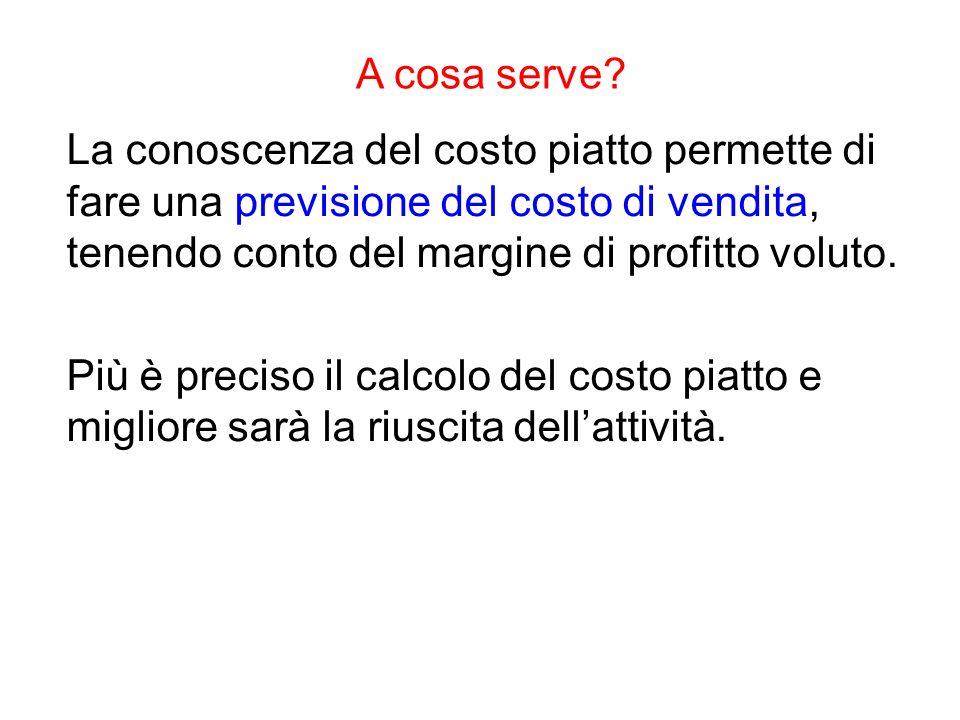 A cosa serve? La conoscenza del costo piatto permette di fare una previsione del costo di vendita, tenendo conto del margine di profitto voluto. Più è