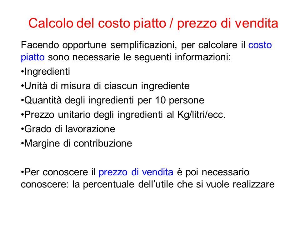 Calcolo del costo piatto / prezzo di vendita Facendo opportune semplificazioni, per calcolare il costo piatto sono necessarie le seguenti informazioni