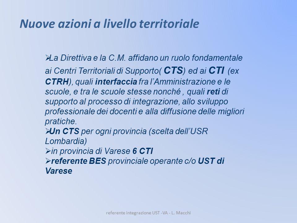  La Direttiva e la C.M. affidano un ruolo fondamentale ai Centri Territoriali di Supporto( CTS ) ed ai CTI (ex CTRH), quali interfaccia fra l'Amminis