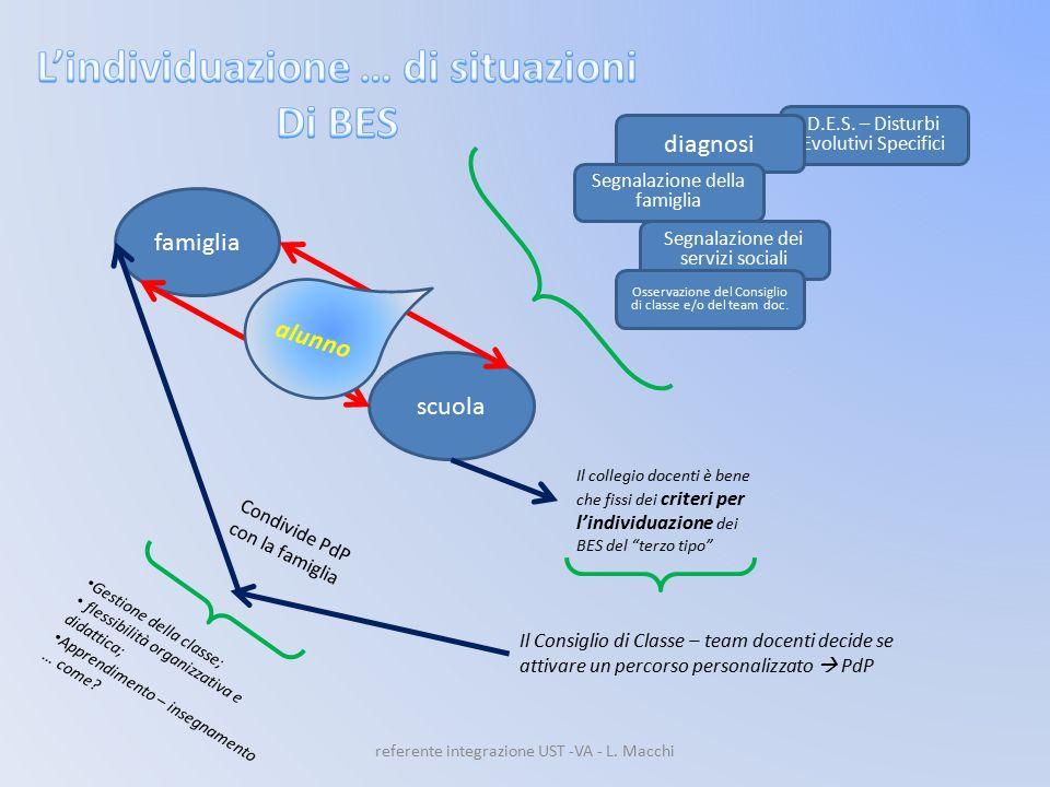 D.E.S. – Disturbi Evolutivi Specifici famiglia scuola alunno diagnosi Segnalazione della famiglia Segnalazione dei servizi sociali Osservazione del Co