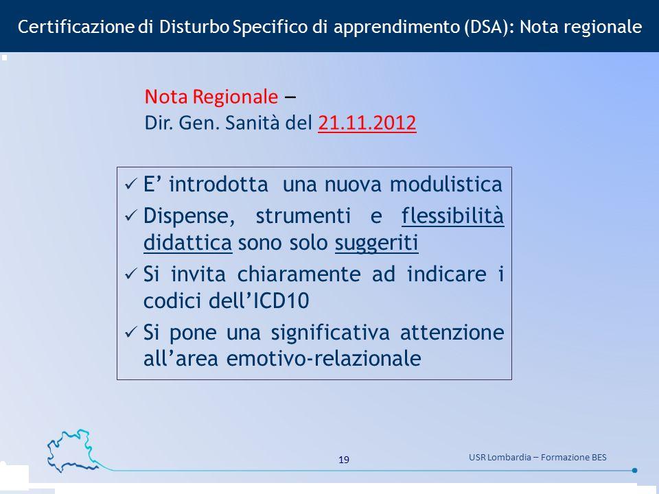 19 USR Lombardia – Formazione BES Certificazione di Disturbo Specifico di apprendimento (DSA): Nota regionale E' introdotta una nuova modulistica Disp