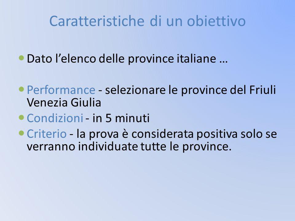 Caratteristiche di un obiettivo Dato l'elenco delle province italiane … Performance - selezionare le province del Friuli Venezia Giulia Condizioni - i