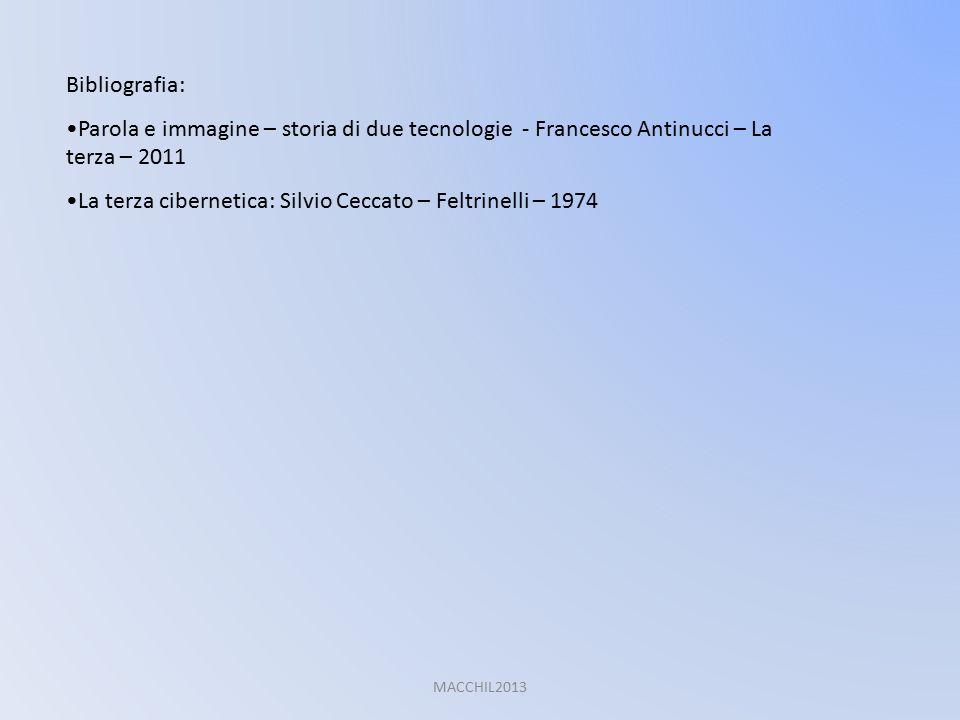 Bibliografia: Parola e immagine – storia di due tecnologie - Francesco Antinucci – La terza – 2011 La terza cibernetica: Silvio Ceccato – Feltrinelli
