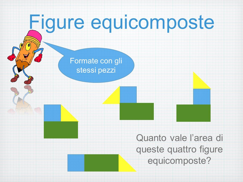 Figure equicomposte Formate con gli stessi pezzi Quanto vale l'area di queste quattro figure equicomposte?