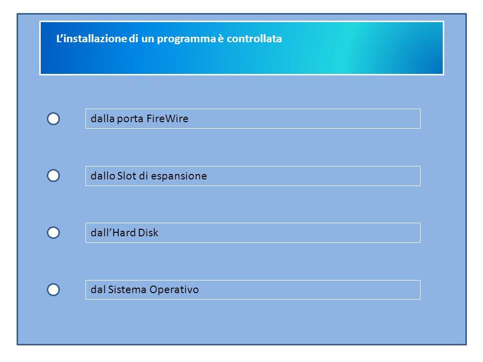 L'installazione di un programma è controllata dalla porta FireWire dallo Slot di espansione dall'Hard Disk dal Sistema Operativo