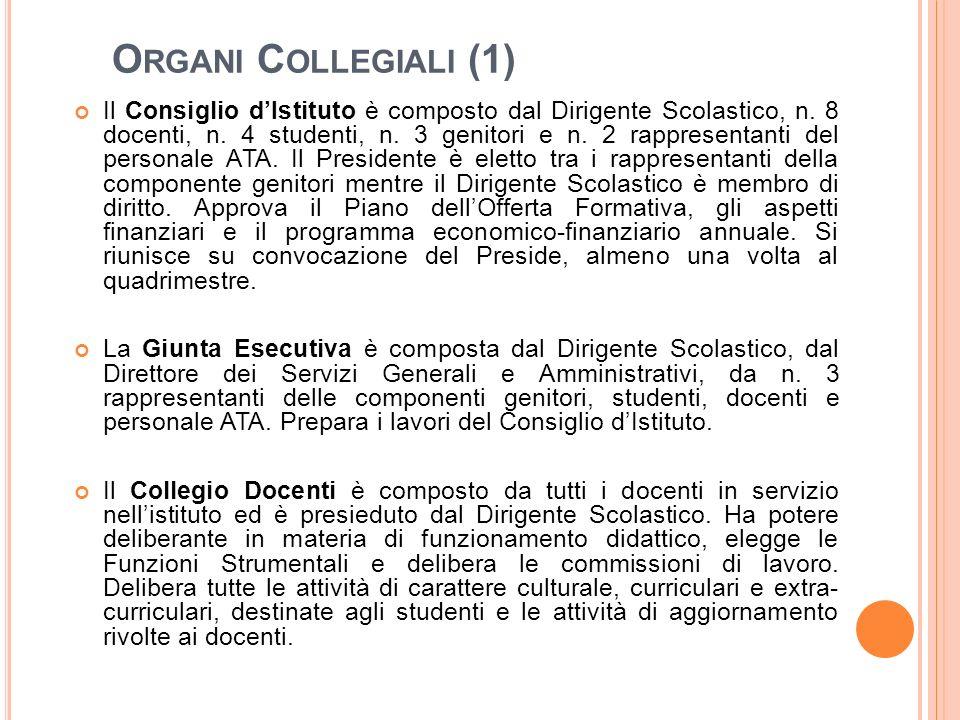 O RGANI C OLLEGIALI (1) Il Consiglio d'Istituto è composto dal Dirigente Scolastico, n. 8 docenti, n. 4 studenti, n. 3 genitori e n. 2 rappresentanti