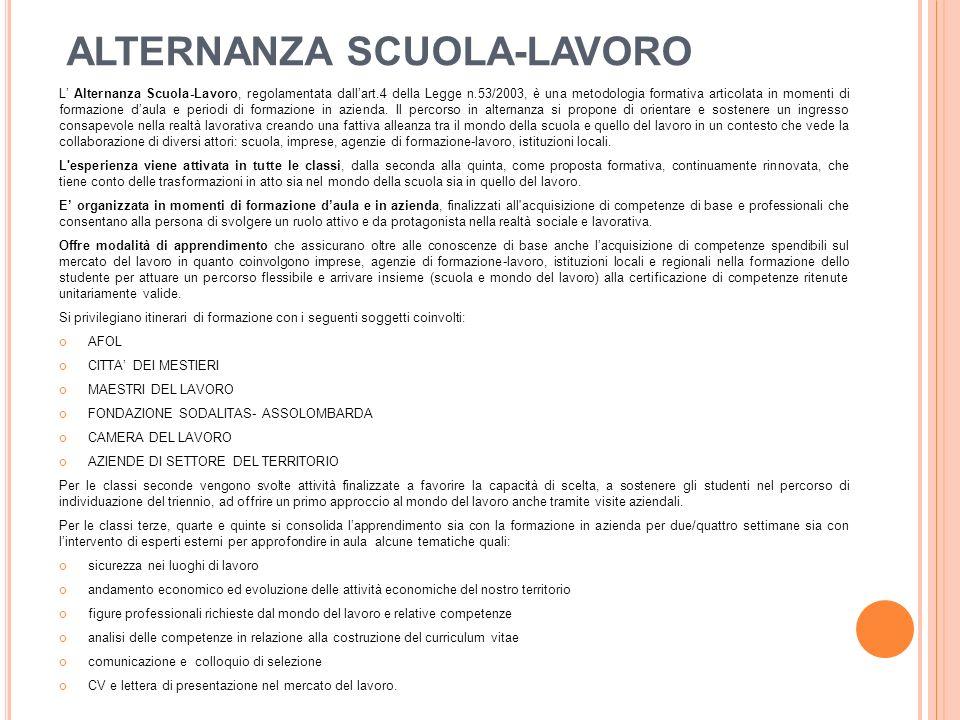 ALTERNANZA SCUOLA-LAVORO L' Alternanza Scuola-Lavoro, regolamentata dall'art.4 della Legge n.53/2003, è una metodologia formativa articolata in momenti di formazione d'aula e periodi di formazione in azienda.
