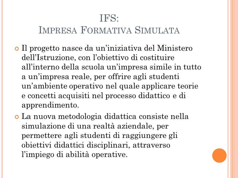 IFS: I MPRESA F ORMATIVA S IMULATA Il progetto nasce da un'iniziativa del Ministero dell'Istruzione, con l'obiettivo di costituire all'interno della s