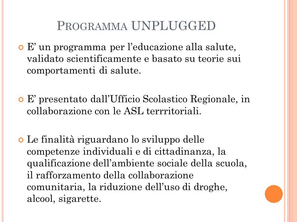 P ROGRAMMA UNPLUGGED E' un programma per l'educazione alla salute, validato scientificamente e basato su teorie sui comportamenti di salute. E' presen