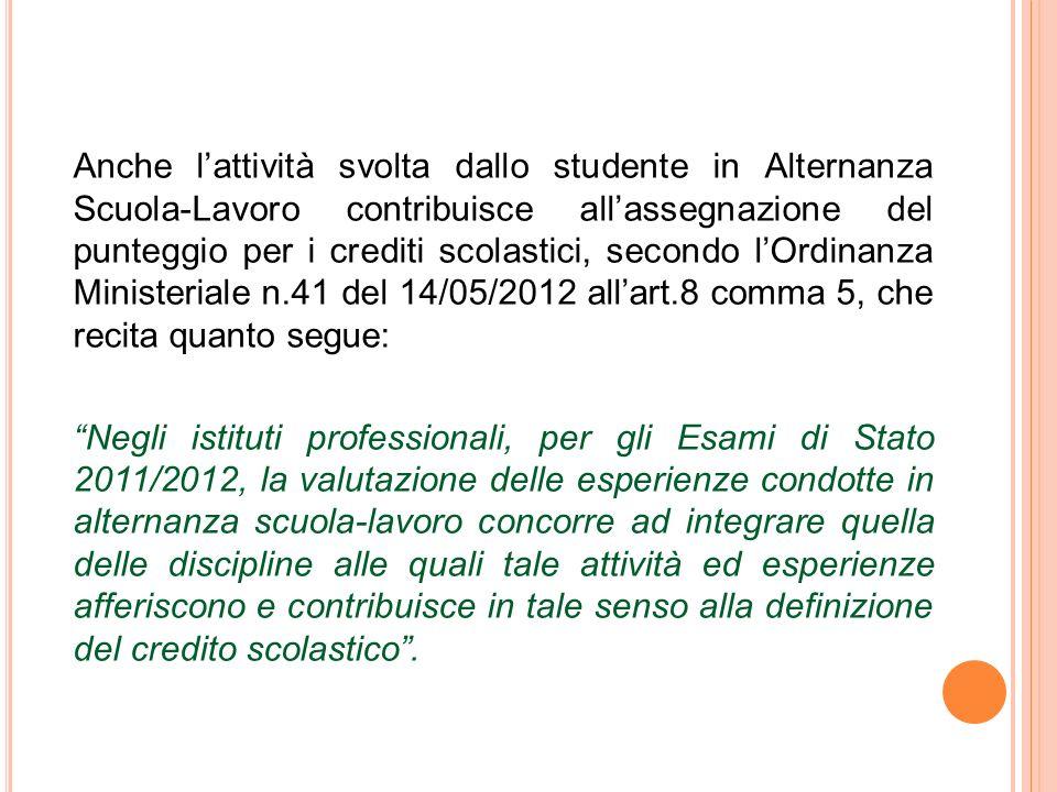 Anche l'attività svolta dallo studente in Alternanza Scuola-Lavoro contribuisce all'assegnazione del punteggio per i crediti scolastici, secondo l'Ord