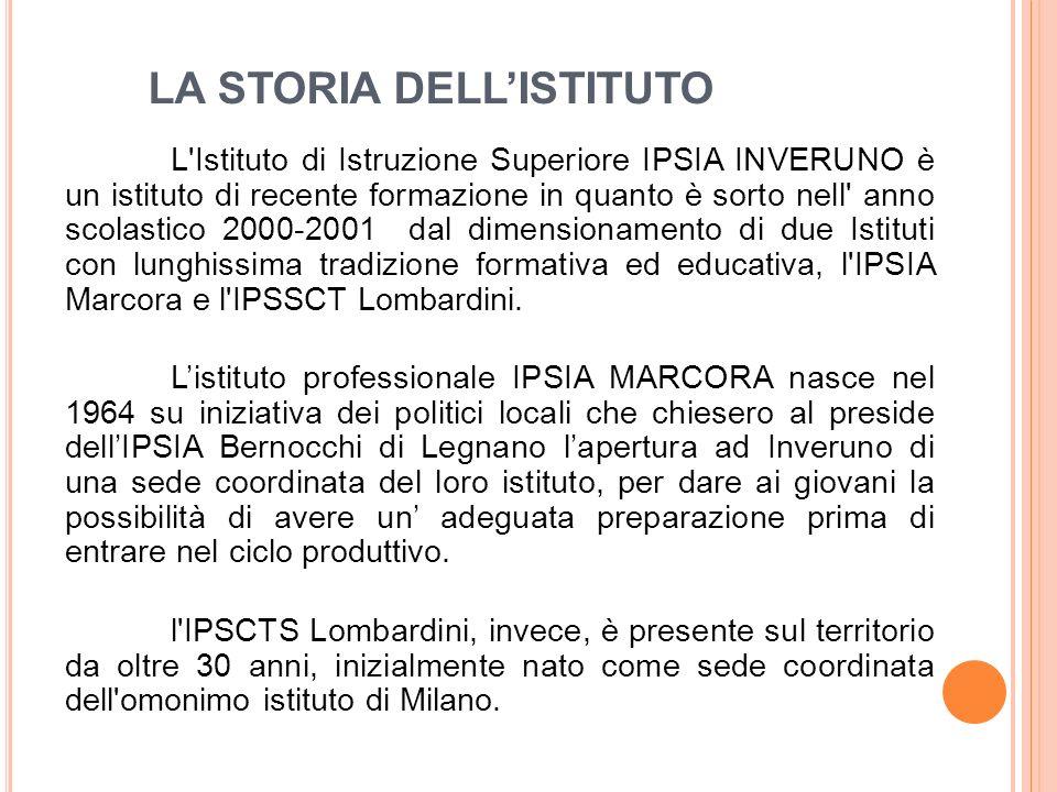 LA STORIA DELL'ISTITUTO L Istituto di Istruzione Superiore IPSIA INVERUNO è un istituto di recente formazione in quanto è sorto nell anno scolastico 2000-2001 dal dimensionamento di due Istituti con lunghissima tradizione formativa ed educativa, l IPSIA Marcora e l IPSSCT Lombardini.