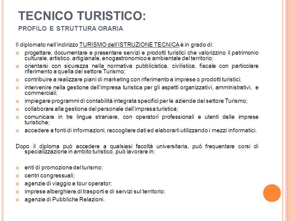 TECNICO TURISTICO: PROFILO E STRUTTURA ORARIA Il diplomato nell'indirizzo TURISMO dell'ISTRUZIONE TECNICA è in grado di: progettare, documentare e pre