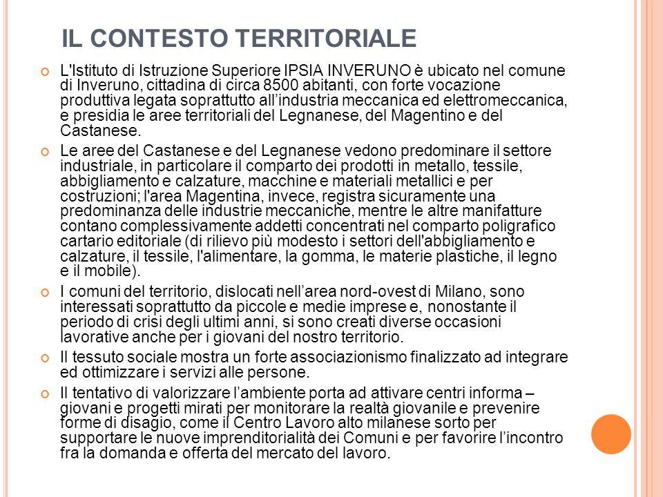 IL CONTESTO TERRITORIALE L'Istituto di Istruzione Superiore IPSIA INVERUNO è ubicato nel comune di Inveruno, cittadina di circa 8500 abitanti, con for