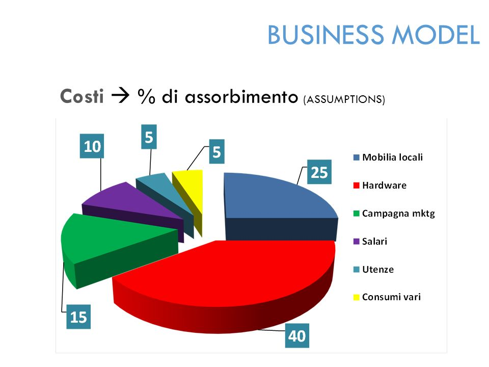 Costi  % di assorbimento (ASSUMPTIONS) BUSINESS MODEL