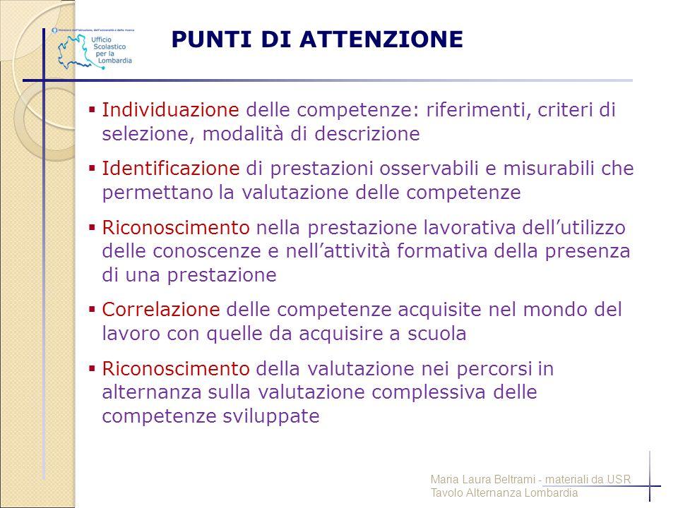 PUNTI DI ATTENZIONE  Individuazione delle competenze: riferimenti, criteri di selezione, modalità di descrizione  Identificazione di prestazioni oss