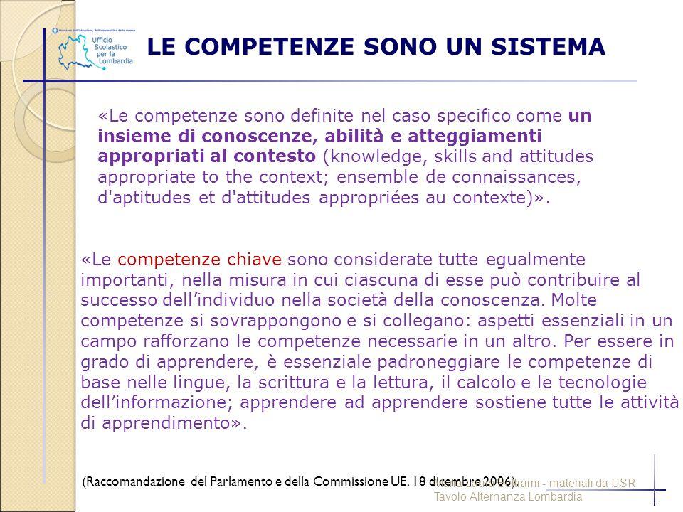 «Le competenze sono definite nel caso specifico come un insieme di conoscenze, abilità e atteggiamenti appropriati al contesto (knowledge, skills and