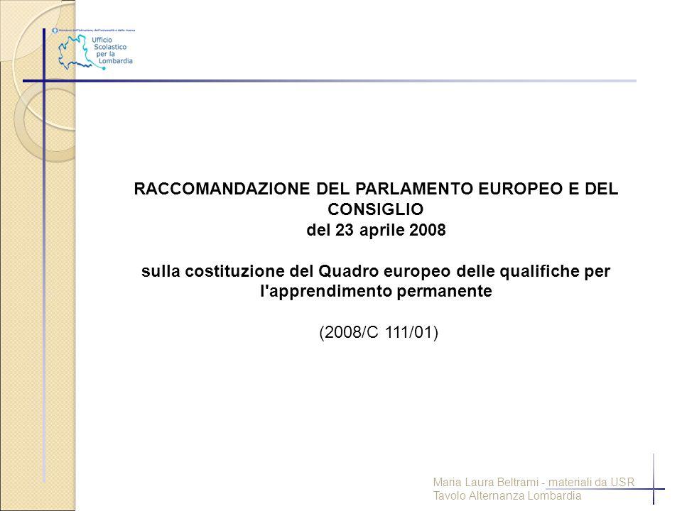 RACCOMANDAZIONE DEL PARLAMENTO EUROPEO E DEL CONSIGLIO del 23 aprile 2008 sulla costituzione del Quadro europeo delle qualifiche per l'apprendimento p