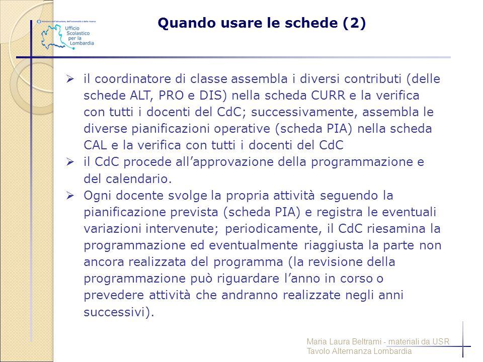  il coordinatore di classe assembla i diversi contributi (delle schede ALT, PRO e DIS) nella scheda CURR e la verifica con tutti i docenti del CdC; s
