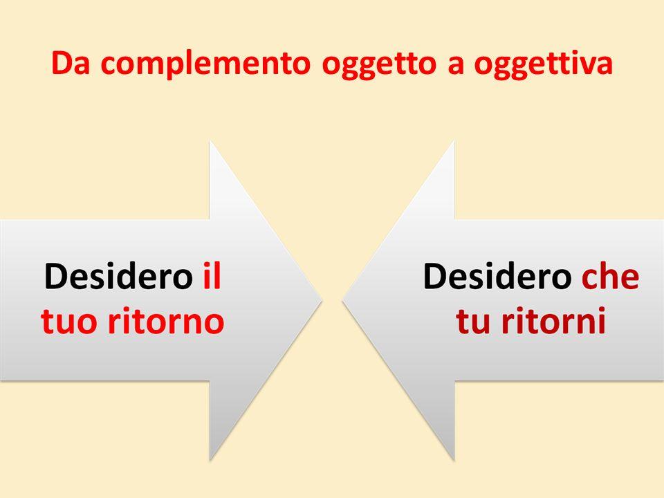 Da complemento oggetto a oggettiva C.ogg.