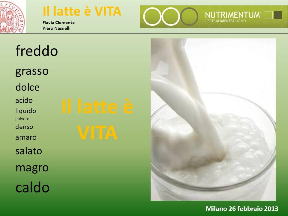 Il latte è VITA Flavia Clemente Piero Nasuelli Milano 26 febbraio 2013 freddo grasso dolce acido liquido polvere denso amaro salato magro caldo Il lat