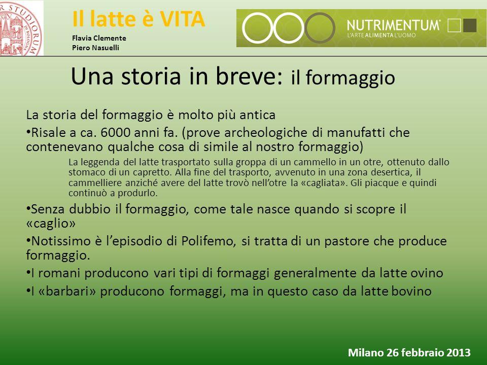 Il latte è VITA Flavia Clemente Piero Nasuelli Milano 26 febbraio 2013 Una storia in breve: il formaggio La storia del formaggio è molto più antica Ri