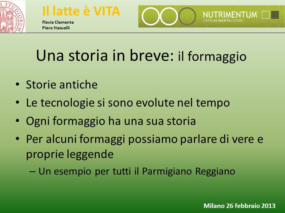 Il latte è VITA Flavia Clemente Piero Nasuelli Milano 26 febbraio 2013 Storie antiche Le tecnologie si sono evolute nel tempo Ogni formaggio ha una su