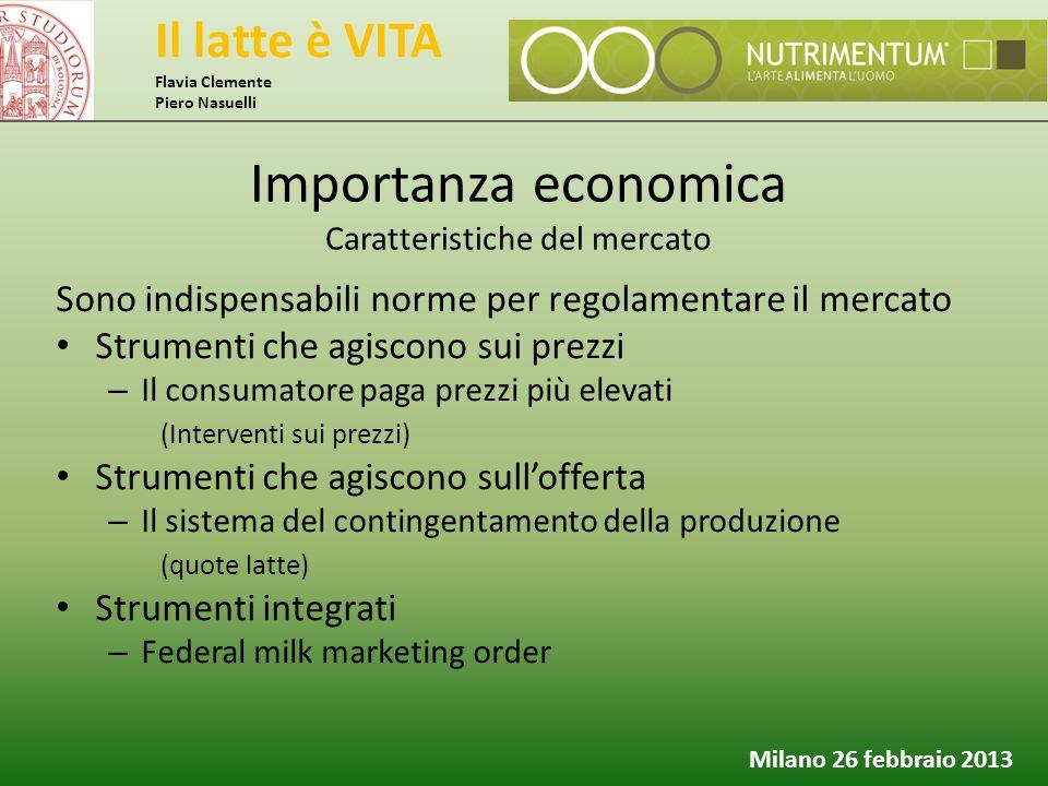Il latte è VITA Flavia Clemente Piero Nasuelli Milano 26 febbraio 2013 Sono indispensabili norme per regolamentare il mercato Strumenti che agiscono s