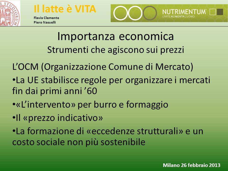 Il latte è VITA Flavia Clemente Piero Nasuelli Milano 26 febbraio 2013 L'OCM (Organizzazione Comune di Mercato) La UE stabilisce regole per organizzar