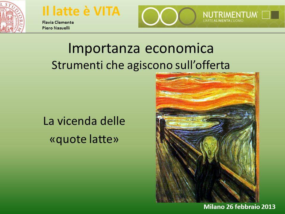 Il latte è VITA Flavia Clemente Piero Nasuelli Milano 26 febbraio 2013 La vicenda delle «quote latte» Importanza economica Strumenti che agiscono sull