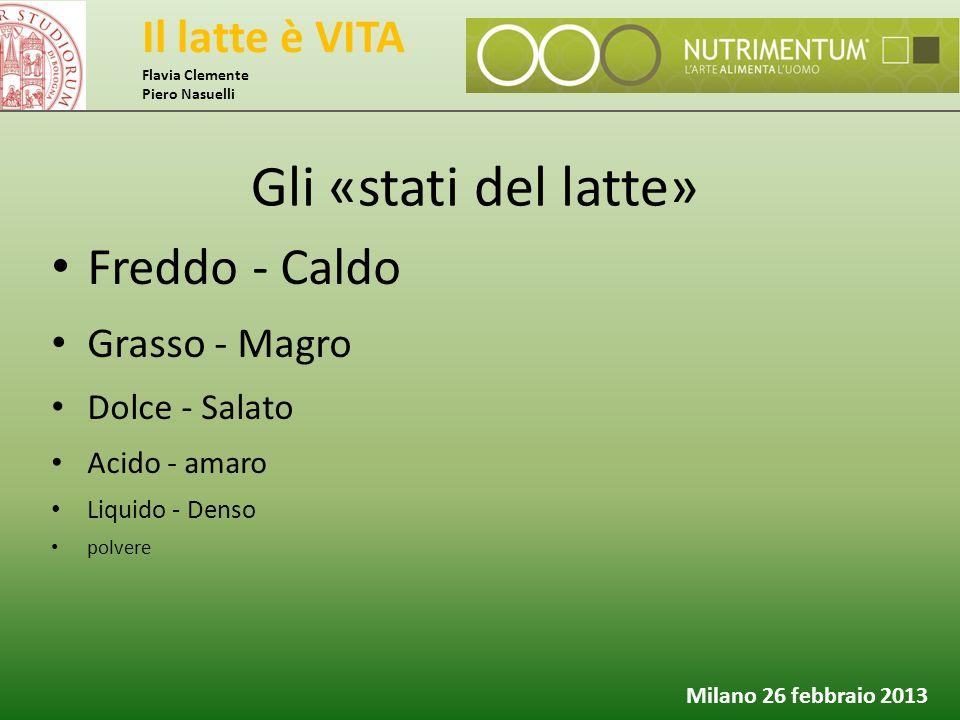 Il latte è VITA Flavia Clemente Piero Nasuelli Milano 26 febbraio 2013 Gli «stati del latte» Freddo - Caldo Grasso - Magro Dolce - Salato Acido - amar
