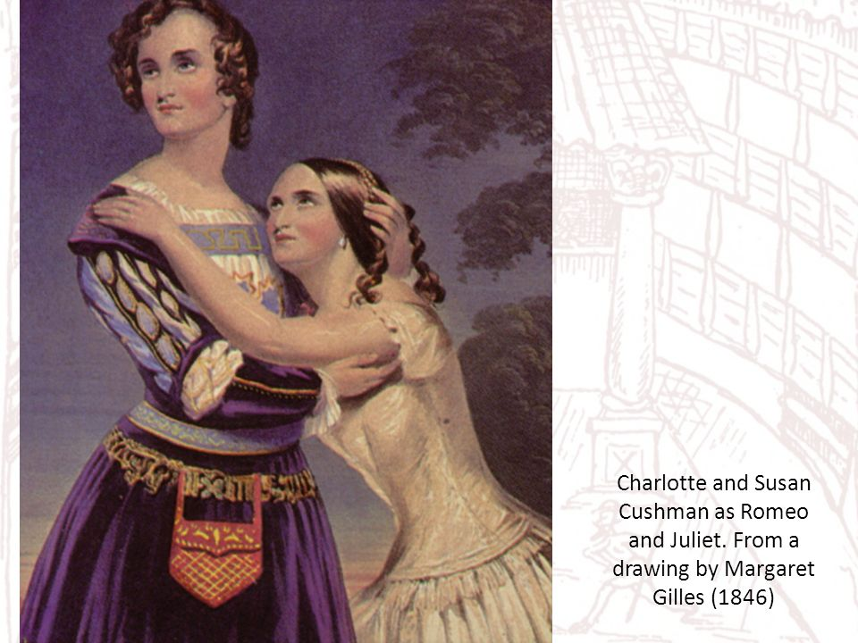 Charlotte and Susan Cushman as Romeo and Juliet. From a drawing by Margaret Gilles (1846)