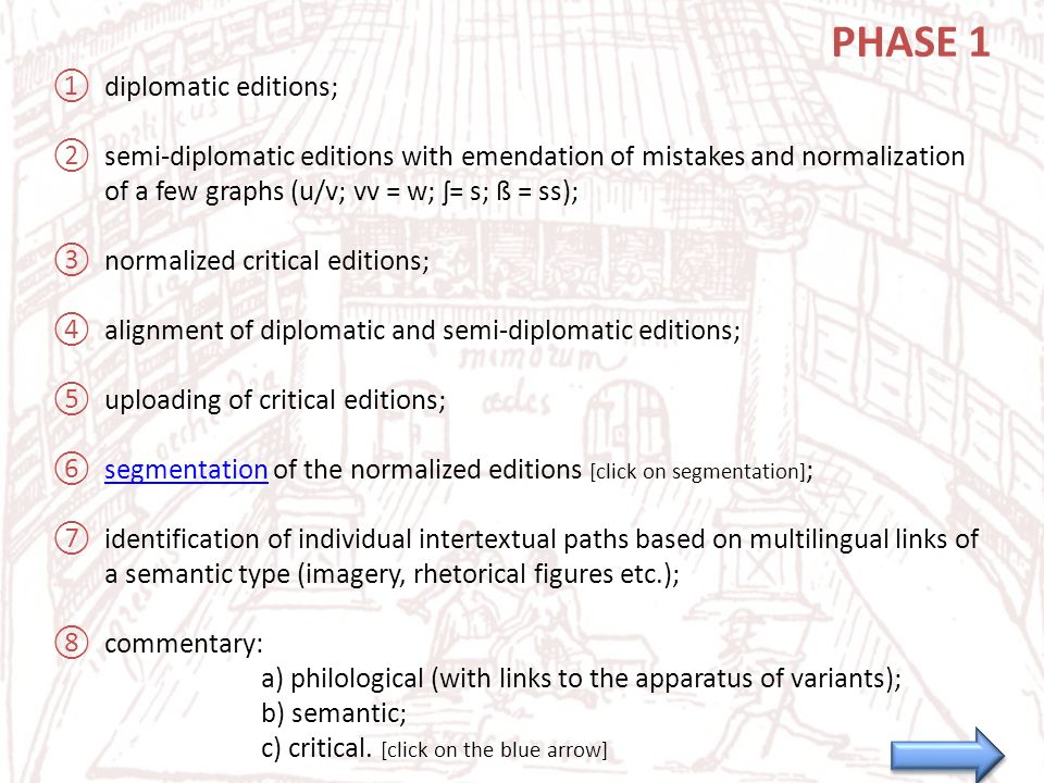 PHASE 1 ①diplomatic editions; ②semi-diplomatic editions with emendation of mistakes and normalization of a few graphs (u/v; vv = w; ʃ= s; ß = ss); ③normalized critical editions; ④alignment of diplomatic and semi-diplomatic editions; ⑤uploading of critical editions; ⑥segmentation of the normalized editions [click on segmentation] ;segmentation ⑦identification of individual intertextual paths based on multilingual links of a semantic type (imagery, rhetorical figures etc.); ⑧commentary: a) philological (with links to the apparatus of variants); b) semantic; c) critical.