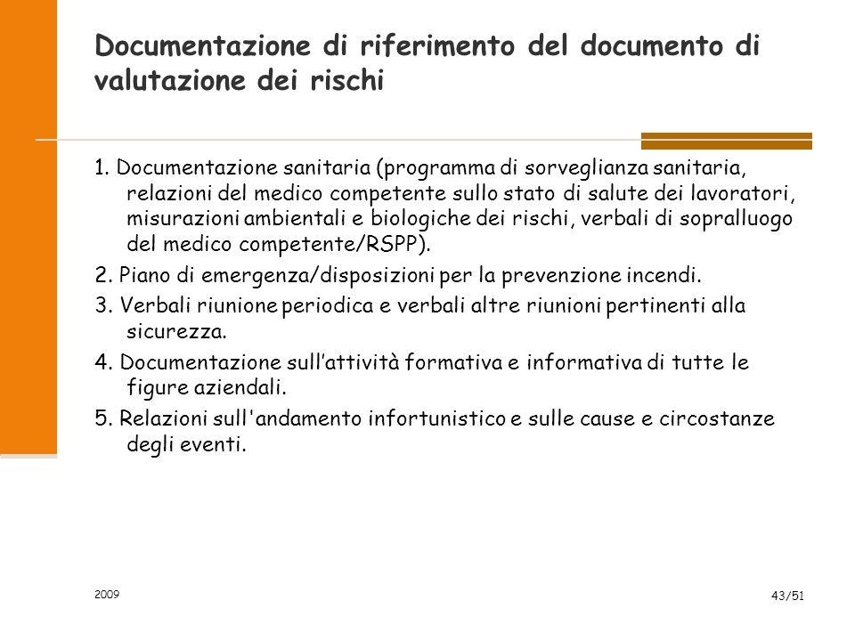 2009 43/51 Documentazione di riferimento del documento di valutazione dei rischi 1.