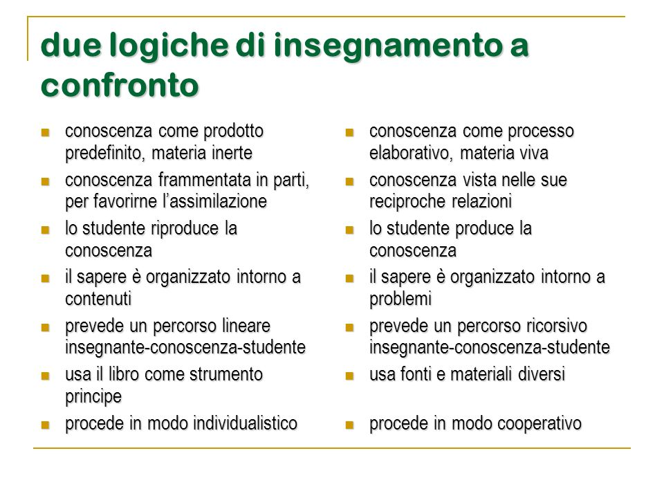 due logiche di insegnamento a confronto conoscenza come prodotto predefinito, materia inerte conoscenza come prodotto predefinito, materia inerte cono