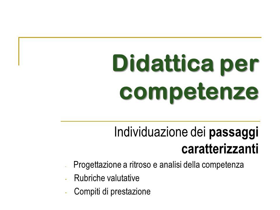 Didattica per competenze Individuazione dei passaggi caratterizzanti - Progettazione a ritroso e analisi della competenza - Rubriche valutative - Comp