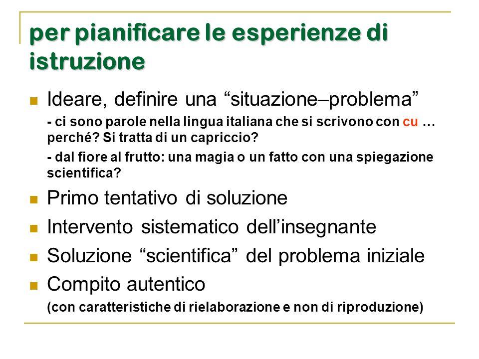 """per pianificare le esperienze di istruzione Ideare, definire una """"situazione–problema"""" - ci sono parole nella lingua italiana che si scrivono con cu …"""