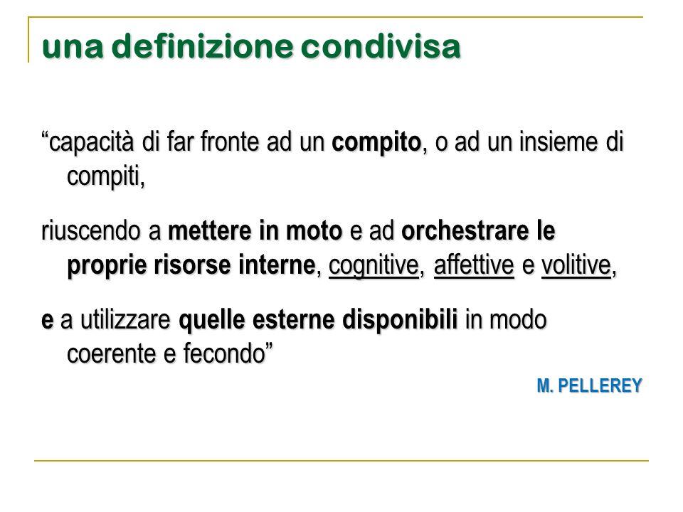 """una definizione condivisa """"capacità di far fronte ad un compito, o ad un insieme di compiti, riuscendo a mettere in moto e ad orchestrare le proprie r"""