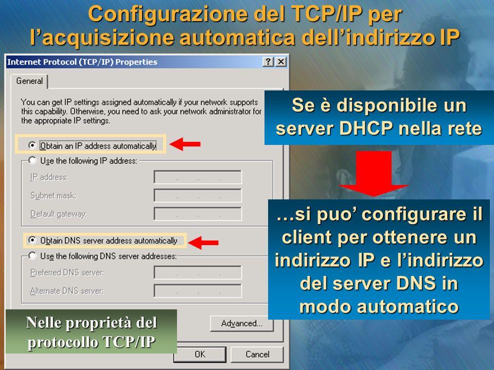 Configurazione del TCP/IP per l'acquisizione automatica dell'indirizzo IP …si puo' configurare il client per ottenere un indirizzo IP e l'indirizzo del server DNS in modo automatico Se è disponibile un server DHCP nella rete Nelle proprietà del protocollo TCP/IP