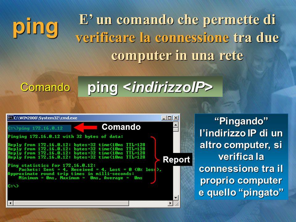 ping E' un comando che permette di verificare la connessione tra due computer in una rete ping ping Pingando l'indirizzo IP di un altro computer, si verifica la connessione tra il proprio computer e quello pingato Comando Report Comando