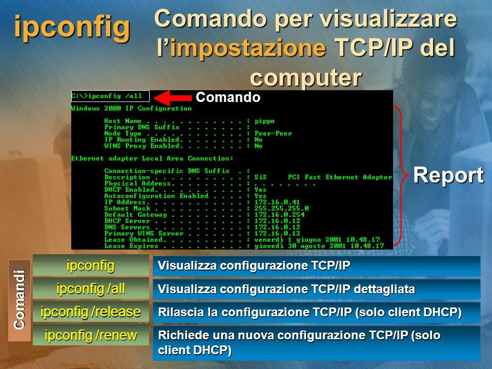 ipconfig Comando per visualizzare l'impostazione TCP/IP del computer Report Comando Comandi ipconfig ipconfig /all ipconfig /release ipconfig /renew Visualizza configurazione TCP/IP Richiede una nuova configurazione TCP/IP (solo client DHCP) Rilascia la configurazione TCP/IP (solo client DHCP) Visualizza configurazione TCP/IP dettagliata